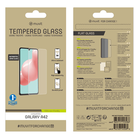 Muvit Samsung Galaxy A42 aizsargstikliņš (Tempered 2.5D Screen Glass)